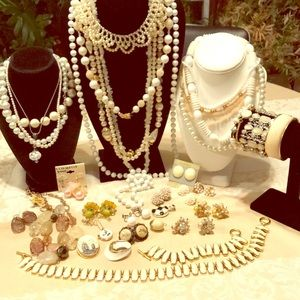 39 PC lot of cream & white jewelry